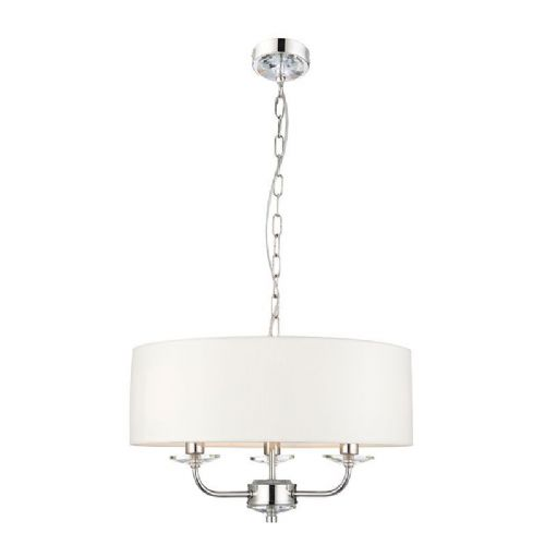 Bright nickel plate & vintage white faux silk Pendant Light 60129 by Endon